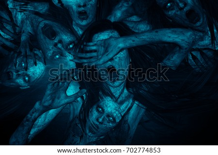 3d illustration of scary ghost woman screaming in hell,Horror background,mixed media