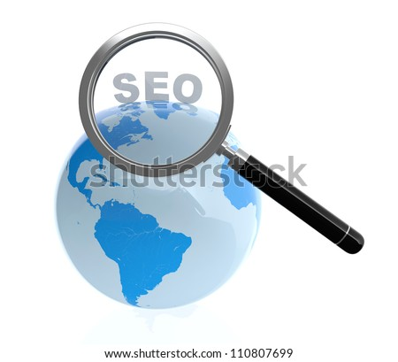 3D illustration of search engine optimization concept isolated on white background