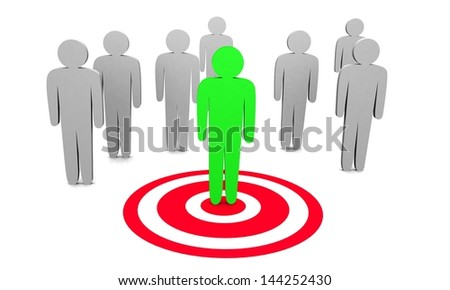 3d illustration of searching and targeting buyer. - stock photo