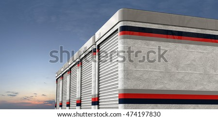 3d illustration of self storage isolated on white background