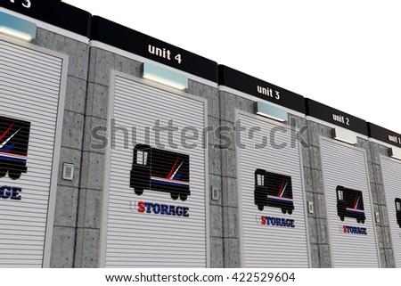 3d illustration of self storage units - stock photo