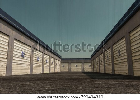 3d illustration of self storage units