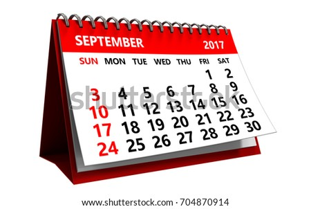 3d illustration of september 2017 calendar isolated over white background
