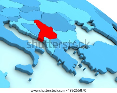 3D illustration of Serbia highlighted in red color on blue globe