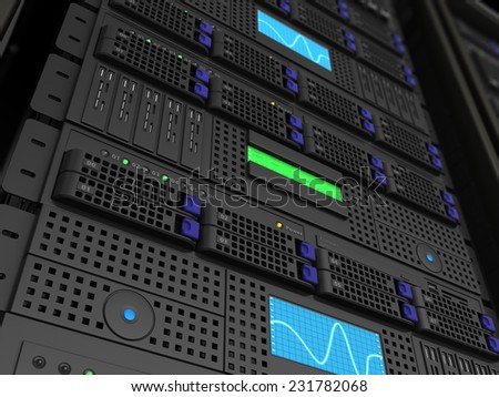 3d illustration of server stand closeup background render - stock photo