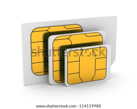 3d illustration of set mini, micro and nano simcard. Isolated on white background - stock photo