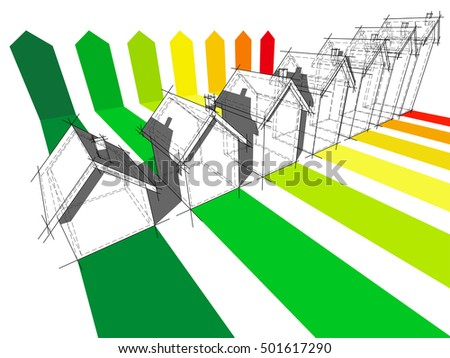 3d illustration of seven houses certified in seven energetic classes in energy rating diagram