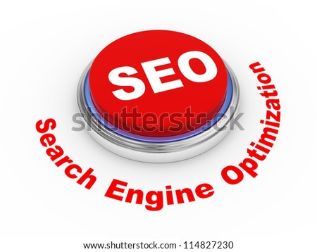 3d illustration of shiny seo (search engine optimization) button - stock photo