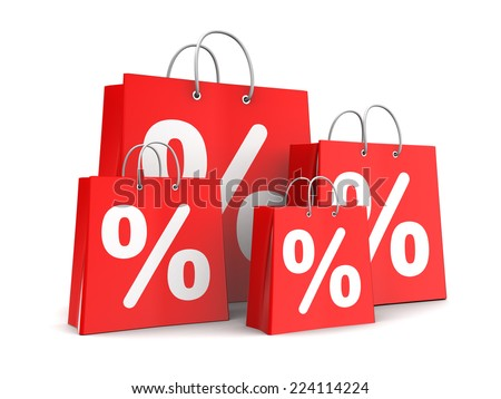 3d illustration of shopping bags with percent signs, sale concept - stock photo