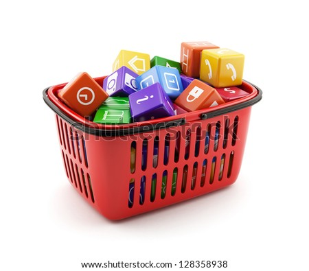 3d illustration of shopping basket with media boxes. Isolated on white background - stock photo