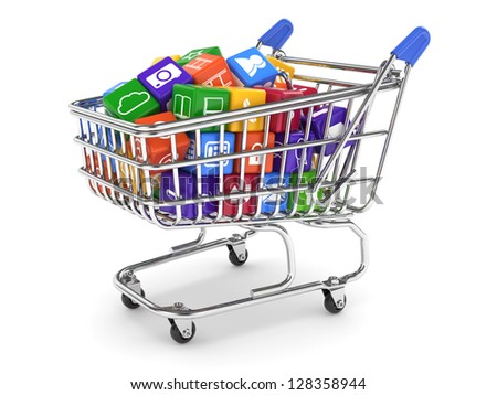 3d illustration of shopping cart with media boxes. Isolated on white background - stock photo