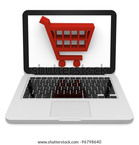 3D illustration of shopping trolley symbol on laptop screen