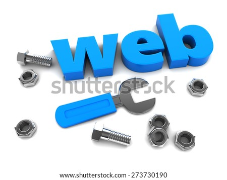 3d illustration of sign and wrench, web design concept