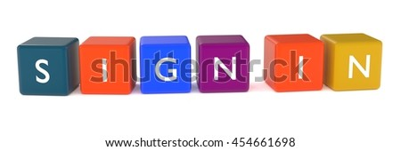 3d illustration of SIGN IN words from colored cubes