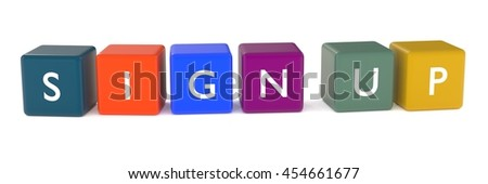 3d illustration of SIGN UP words from colored cubes