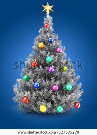 3d illustration of silver Christmas tree over blue background with golden star and colorful balls