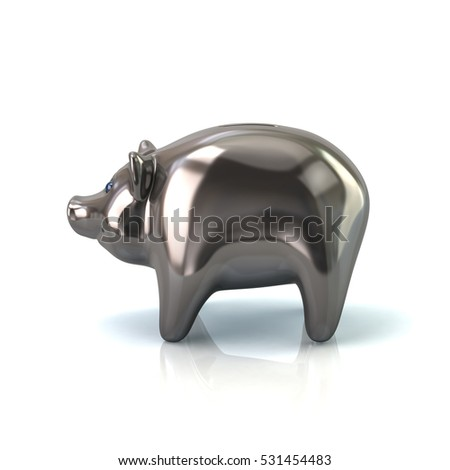 3d illustration of silver piggy bank isolated on white background