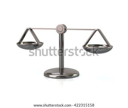 3d illustration of silver scales icon isolated on white background - stock photo