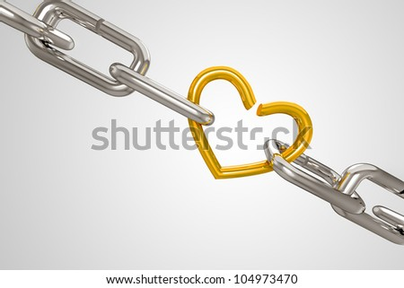 3d illustration of silver shackel attached with golden heart - stock photo