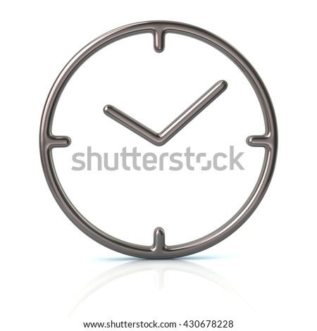 3d illustration of silver time icon isolated on white background - stock photo