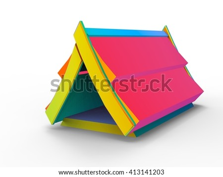 3d illustration of simple building. low poly triangles and polygons style. japan style. The place where the goods are stored. isolated on white background with shadow. icon for game web. many colors