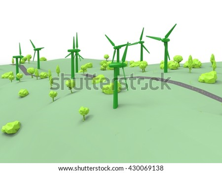 3d illustration of simple wind generators with trees. low poly triangles and polygons style. icon for game web. green black texture color. white background isolated with shadow. simple to use.  - stock photo