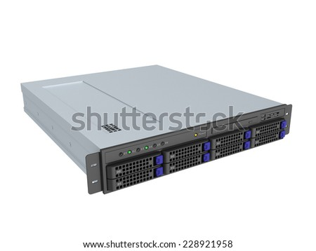 3d illustration of single server rack over white background - stock photo
