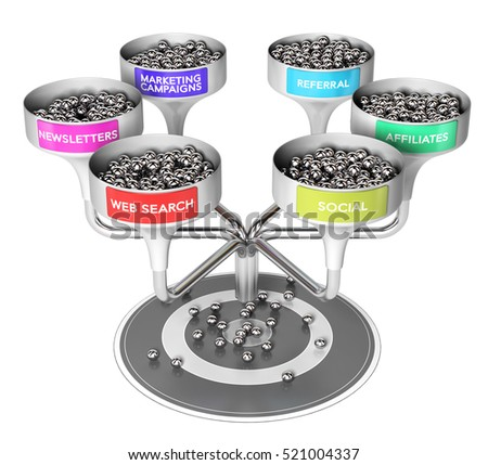 3D illustration of six funnels with many spheres and a target over white background, Business or marketing concept of multi channel leads generation