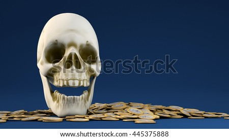 3D illustration of skull with gold bounty