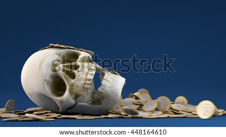 3D illustration of skull with gold bounty on blue background