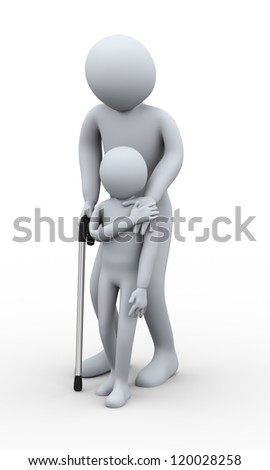 3d illustration of small boy helping old man on walking stick. 3d rendering of human character
