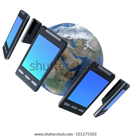 3d illustration of  smarphones around the world isolated on whit
