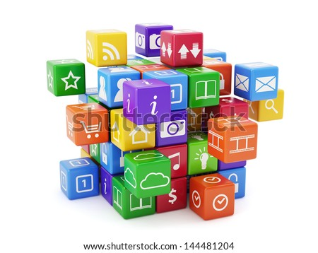 3d illustration of software concept. Icons isolated on white background - stock photo