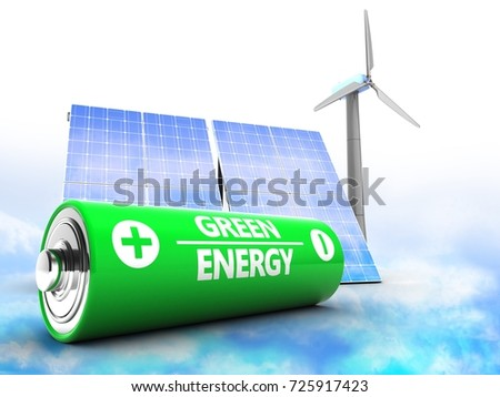 3d illustration of solar and wind energy over clouds background with battery