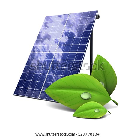 3d illustration of solar panel and green  leaf, eco energy concept - stock photo