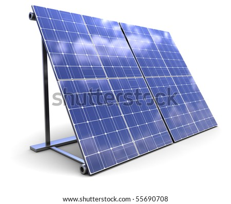 3d illustration of solar panel over white background
