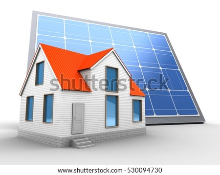3d illustration of solar panel over white background with house