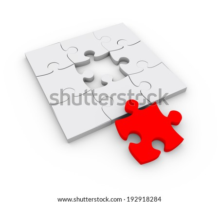 3d illustration of solved puzzle with last red piece - stock photo