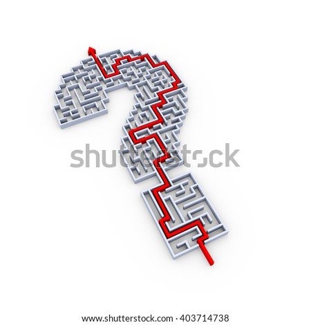 3d illustration of solved question mark symbol sign maze puzzle - stock photo