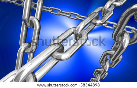 3d illustration of some silver chains on dark blue background - stock photo