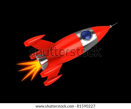 3d illustration of space rocket over black background - stock photo