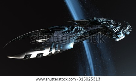 3D illustration of space ship