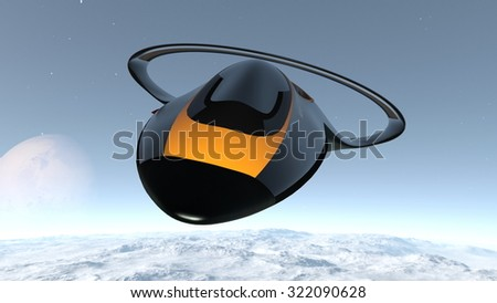3D illustration of space ship and sky - stock photo