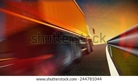 3d illustration of Speeding Transportation Semi Truck with Container driving on highway road on sunset. Motion blur and speed lines - stock photo