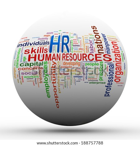 3d Illustration of sphere ball presentation of wordcloud word tags of hr human resources. - stock photo