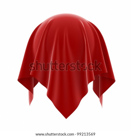 3d illustration of sphere coverered red silk isolated on white background