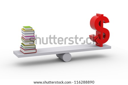 3d illustration of stack of books and dollar symbol on scale - stock photo