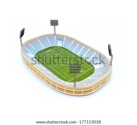 3d illustration of stadium with soccer field with the light stands isolated on white - stock photo