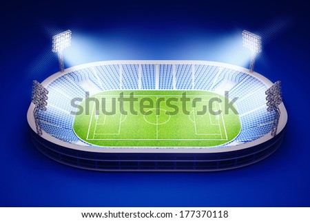 3d illustration of stadium with soccer field with the lights on dark blue background - stock photo