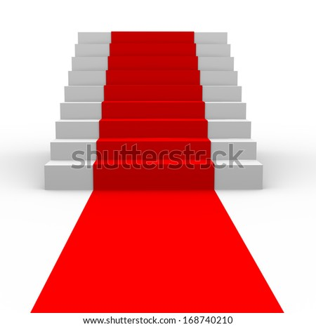 3d illustration of stairs with red carpet. - stock photo